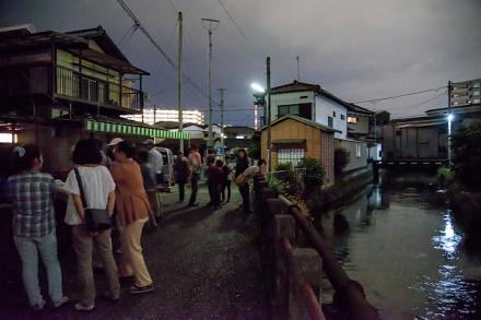 田宿川でホタル鑑賞する人々