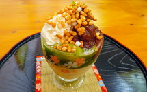 味体験グルメ まるカフェの「米粉と緑茶のムースパフェ」