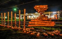 竹かぐやと比奈駅の夜景