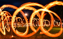 見応えある炎が描く輪の光景