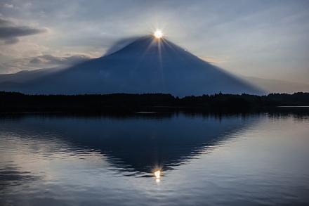 田貫湖撮影3日目 湖面にも映るダブルダイヤモンド富士を堪能