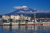 船上から撮影した田子の浦港と富士山の風景