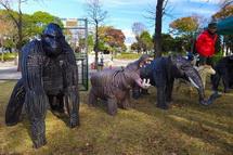 鉄筋アートの動物
