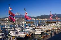 大漁旗を掲げた漁船と富士山のコラボ