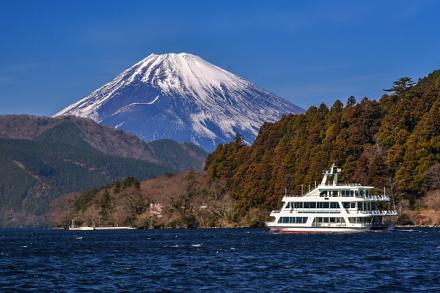 元箱根の芦ノ湖畔から見た遊覧船と富士山の風景