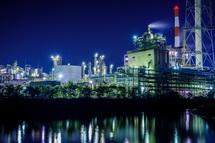 新浜公園からの工場夜景写真