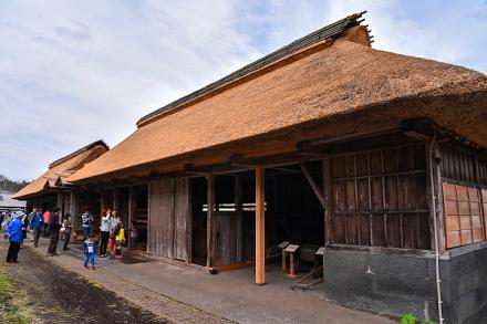 改修された井出家の長屋と高麗門