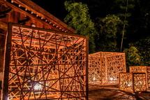 御穂神社には竹オブジェの明かり