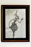 骨で表現した動物の絵