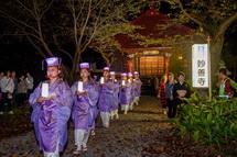妙善寺の参道を歩く一行