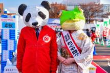 動物マスクをかぶって記念撮影(富士市長&かぐや姫クイーン)