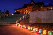 竹灯りが幻想的に彩る境内