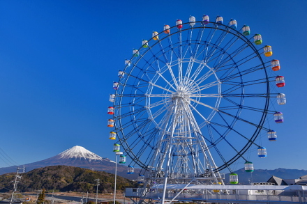 大観覧車「Fuji Sky View」と富士山の風景