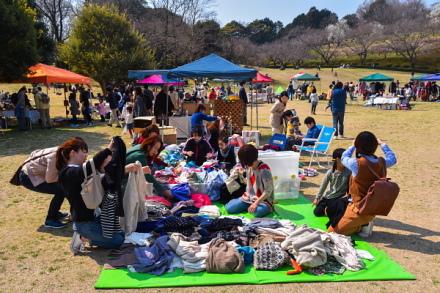 春の市開催の岩本山公園