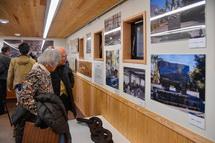 ディアナ号に関する展示物を見る人たち