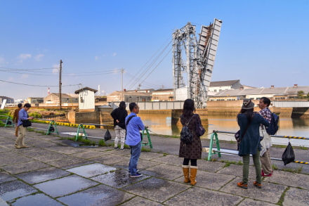 港湾部の運河周辺で撮影