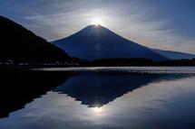 山頂から日が昇り始める