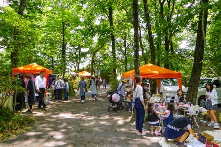 緑豊かな林の中でのマルシェ開催