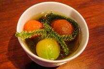3種のミニトマトの潮の香りの冷たいスープ