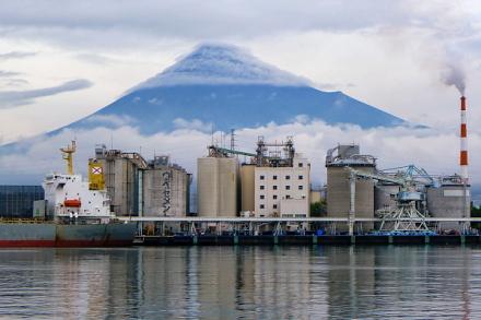 漁協から見えた富士山