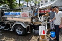 給水車の水の試飲