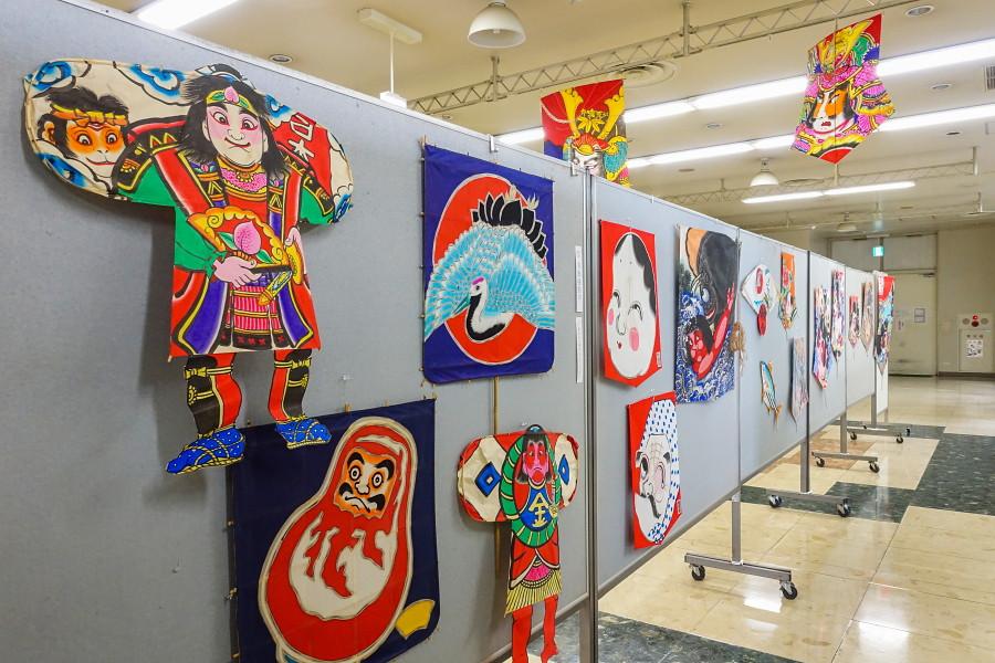 日本の凧絵展開催の新富士駅ステーションプラザFUJI