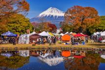 池に映る逆さ富士も楽しめた