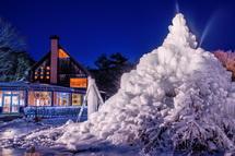 夕闇の樹氷風景