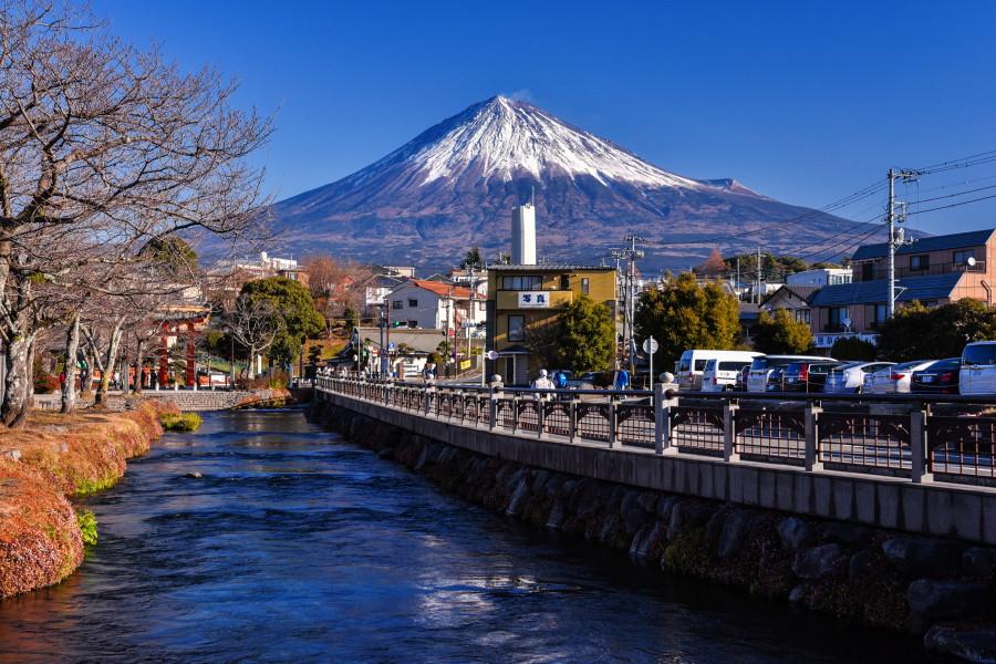 神田川からの綺麗な富士山