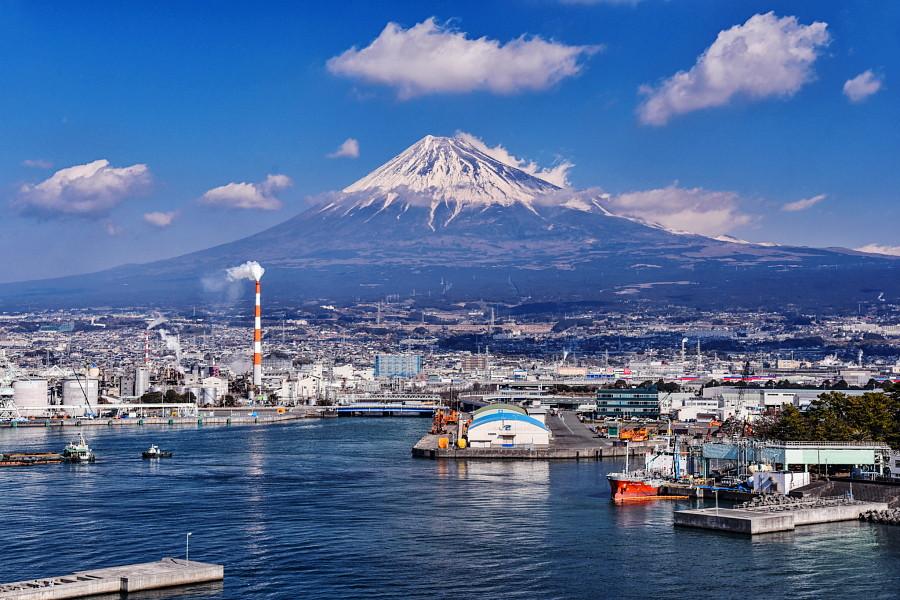 タワーからの富士山と田子の浦港の眺め