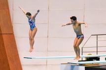 シンクロナイズド3m飛板飛込の競技風景
