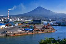 展望台からの田子の浦港と富士山の風景