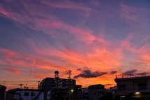 花火前の綺麗な夕焼け