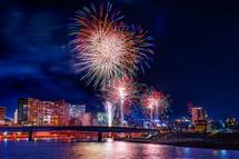 沼津市街地の夜景と花火の素敵なコラボ