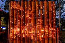 竹かぐやのほのかな灯りが彩る境内
