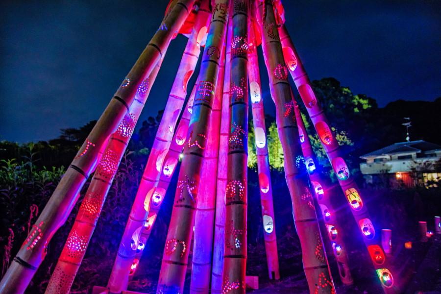 カラフルな電飾を灯した竹灯籠