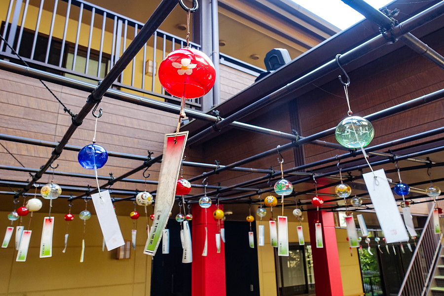 施設に飾られた江戸風鈴
